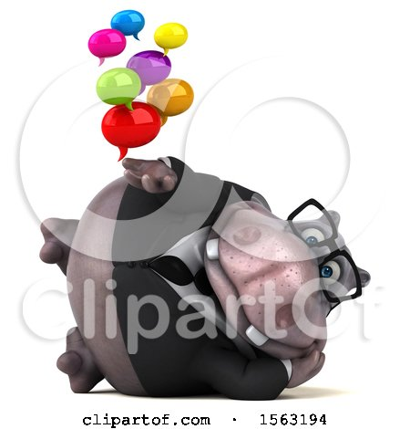 Clipart of a 3d Business Hippo Holding Messages, on a White Background - Royalty Free Illustration by Julos