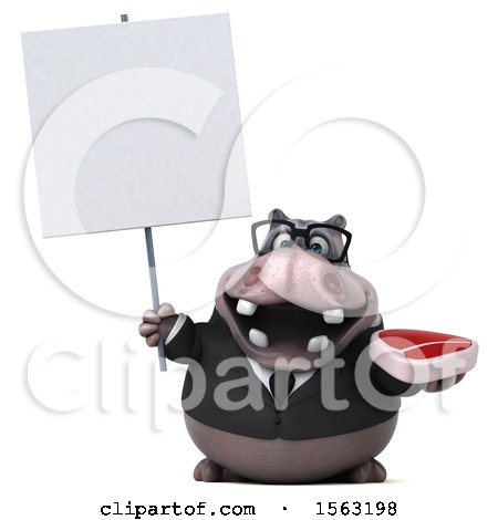 Clipart of a 3d Business Hippo Holding a Steak, on a White Background - Royalty Free Illustration by Julos