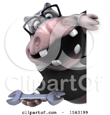 Clipart of a 3d Business Hippo Holding a Wrench, on a White Background - Royalty Free Illustration by Julos