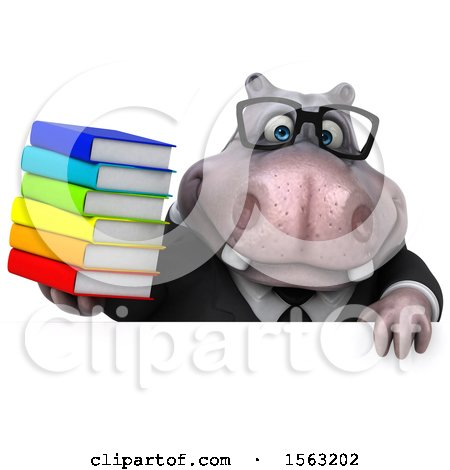 Clipart of a 3d Business Hippo Holding Books, on a White Background - Royalty Free Illustration by Julos