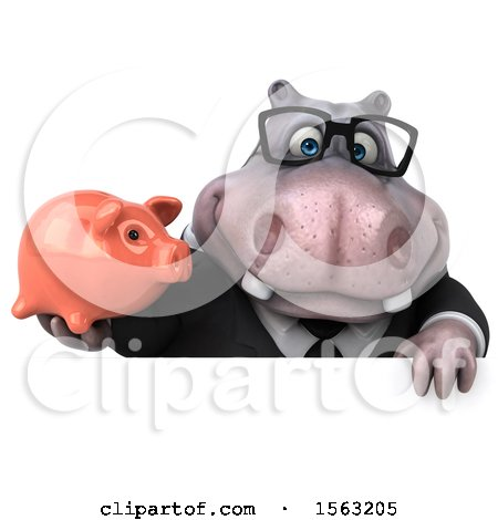 Clipart of a 3d Business Hippo Holding a Piggy Bank, on a White Background - Royalty Free Illustration by Julos