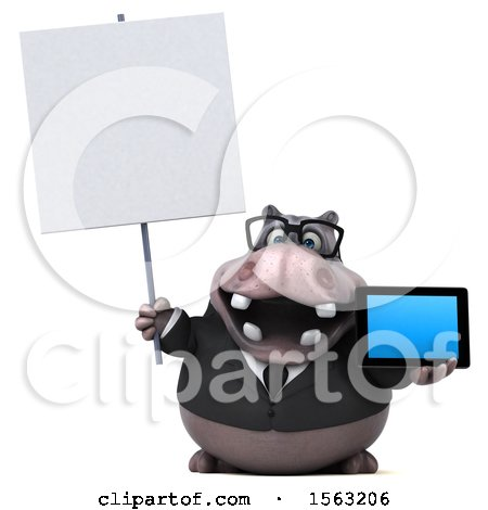 Clipart of a 3d Business Hippo Holding a Tablet, on a White Background - Royalty Free Illustration by Julos