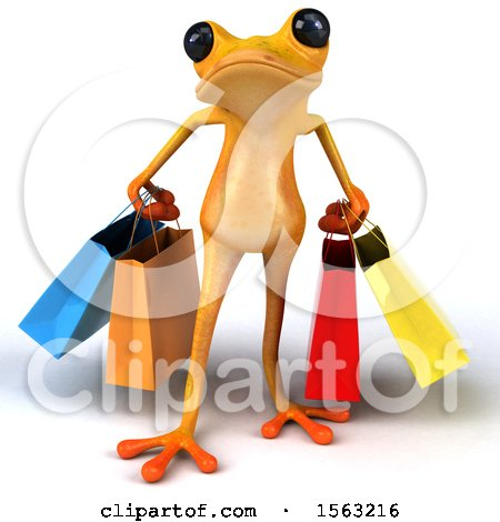 Clipart of a 3d Yellow Frog Carrying Shopping Bags, on a White Background - Royalty Free Illustration by Julos
