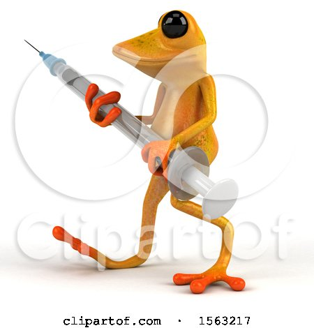 Clipart of a 3d Yellow Frog Holding a Syringe, on a White Background - Royalty Free Illustration by Julos