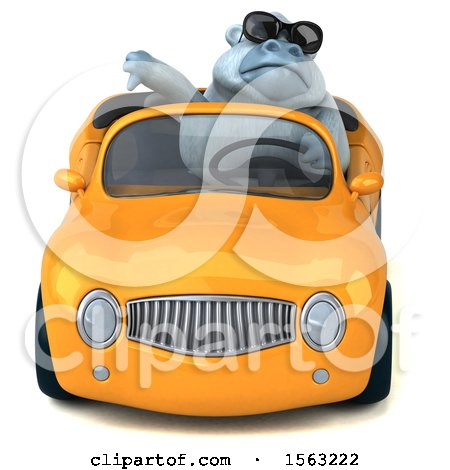Clipart of a 3d White Monkey Yeti Driving a Convertible, on a White Background - Royalty Free Illustration by Julos