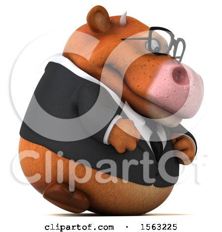 Clipart of a 3d Brown Business Cow, on a White Background - Royalty Free Illustration by Julos