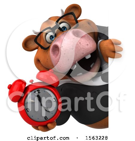 Clipart of a 3d Brown Business Cow Holding an Alarm Clock, on a White Background - Royalty Free Illustration by Julos