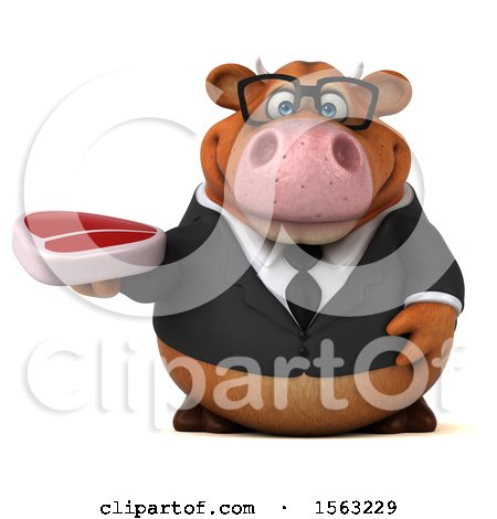 Clipart of a 3d Brown Business Cow Holding a Steak, on a White Background - Royalty Free Illustration by Julos