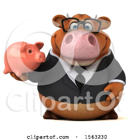 Clipart of a 3d Brown Business Cow Holding a Piggy Bank, on a White Background - Royalty Free Illustration by Julos