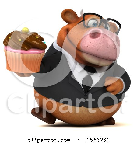 Clipart of a 3d Brown Business Cow Holding a Cupcake, on a White Background - Royalty Free Illustration by Julos