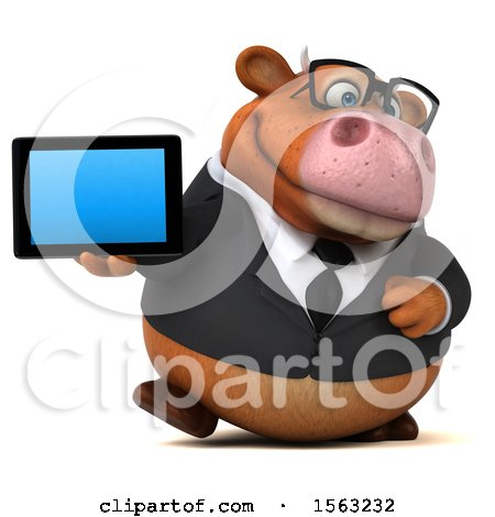 Clipart of a 3d Brown Business Cow Holding a Tablet, on a White Background - Royalty Free Illustration by Julos