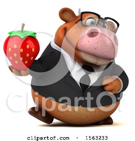 Clipart of a 3d Brown Business Cow Holding a Strawberry, on a White Background - Royalty Free Illustration by Julos