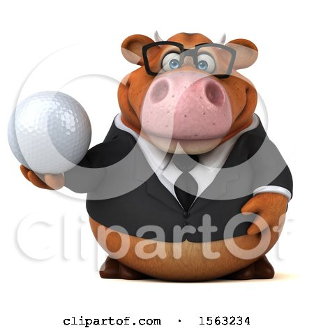 Clipart of a 3d Brown Business Cow Holding a Golf Ball, on a White Background - Royalty Free Illustration by Julos