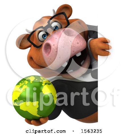 Clipart of a 3d Brown Business Cow Holding a Globe, on a White Background - Royalty Free Illustration by Julos