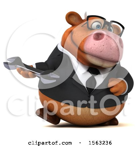 Clipart of a 3d Brown Business Cow Holding a Wrench, on a White Background - Royalty Free Illustration by Julos