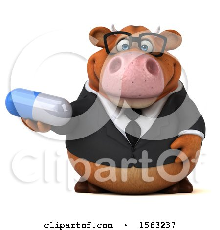 Clipart of a 3d Brown Business Cow Holding a Pill, on a White Background - Royalty Free Illustration by Julos