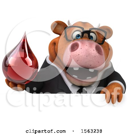Clipart of a 3d Brown Business Cow Holding a Blood Drop, on a White Background - Royalty Free Illustration by Julos