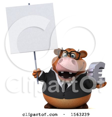 Clipart of a 3d Brown Business Cow Holding a Euro, on a White Background - Royalty Free Illustration by Julos