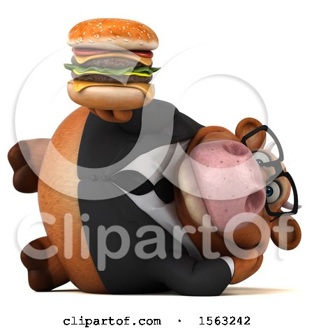 Clipart of a 3d Brown Business Cow Holding a Burger, on a White Background - Royalty Free Illustration by Julos