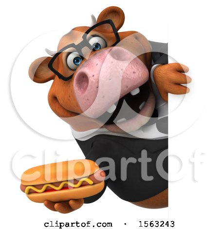 Clipart of a 3d Brown Business Cow Holding a Hot Dog, on a White Background - Royalty Free Illustration by Julos