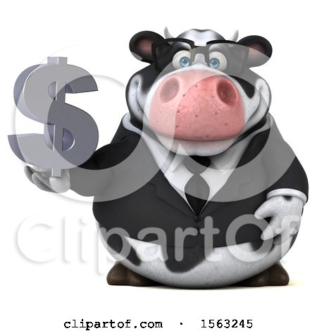 Clipart of a 3d Business Holstein Cow Holding a Dollar Sign, on a White Background - Royalty Free Illustration by Julos