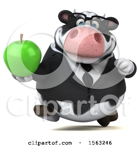 Clipart of a 3d Business Holstein Cow Holding an Apple, on a White Background - Royalty Free Illustration by Julos