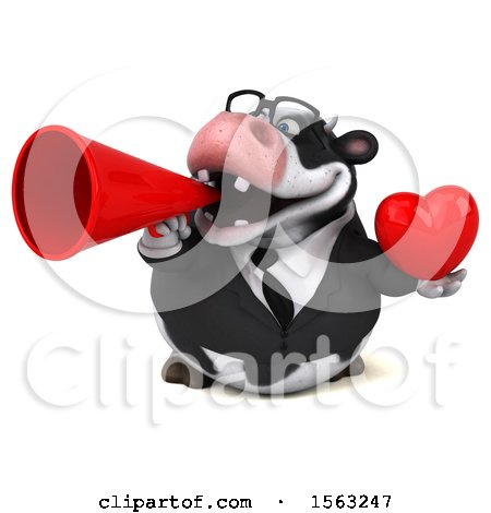 Clipart of a 3d Business Holstein Cow Holding a Heart, on a White Background - Royalty Free Illustration by Julos