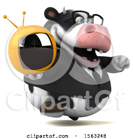 Clipart of a 3d Business Holstein Cow Holding a Tv, on a White Background - Royalty Free Illustration by Julos
