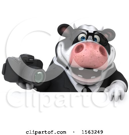 Clipart of a 3d Business Holstein Cow Holding a Camera, on a White Background - Royalty Free Illustration by Julos