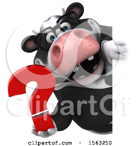 Clipart of a 3d Business Holstein Cow Holding a Question Mark, on a White Background - Royalty Free Illustration by Julos