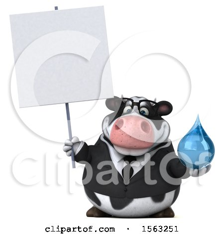 Clipart of a 3d Business Holstein Cow Holding a Water Drop, on a White Background - Royalty Free Illustration by Julos