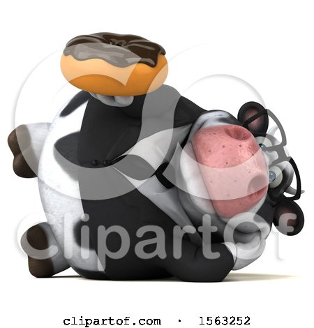 Clipart of a 3d Business Holstein Cow Holding a Donut, on a White Background - Royalty Free Illustration by Julos
