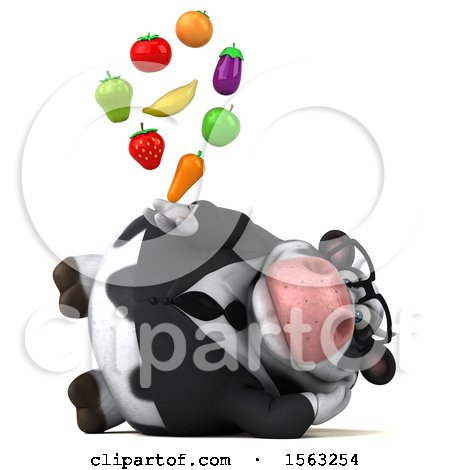 Clipart of a 3d Business Holstein Cow Holding Produce, on a White Background - Royalty Free Illustration by Julos