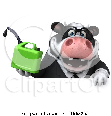Clipart of a 3d Business Holstein Cow Holding a Gas Can, on a White Background - Royalty Free Illustration by Julos
