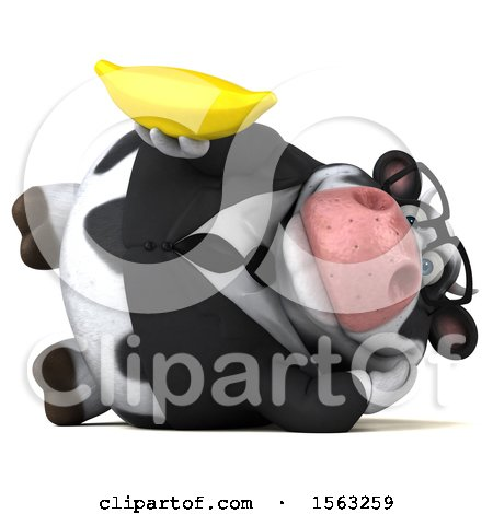 Clipart of a 3d Business Holstein Cow Holding a Banana, on a White Background - Royalty Free Illustration by Julos