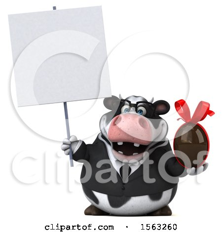Clipart of a 3d Business Holstein Cow Holding a Chocolate Egg, on a White Background - Royalty Free Illustration by Julos