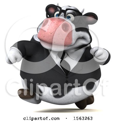 Clipart of a 3d Business Holstein Cow Running, on a White Background - Royalty Free Illustration by Julos
