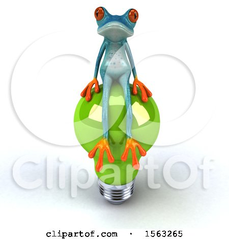 Clipart of a 3d Blue Frog Sitting on a Light Bulb, on a White Background - Royalty Free Illustration by Julos