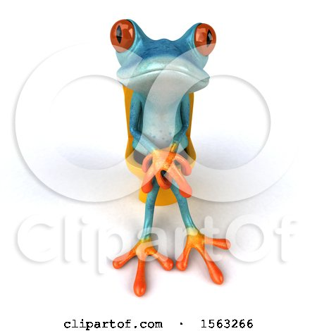 Clipart of a 3d Blue Frog Sitting on a Toilet, on a White Background - Royalty Free Illustration by Julos