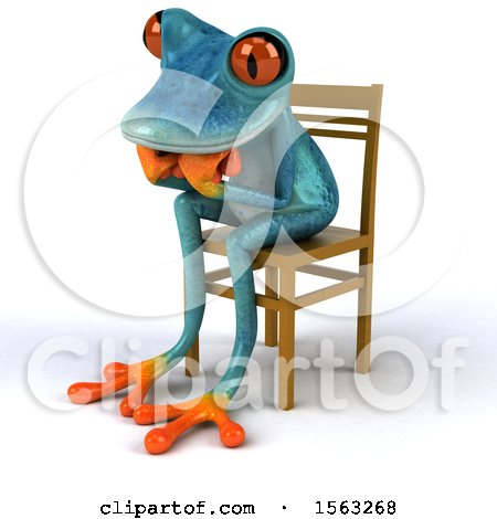 Clipart of a 3d Blue Frog Sitting and Thinking, on a White Background - Royalty Free Illustration by Julos