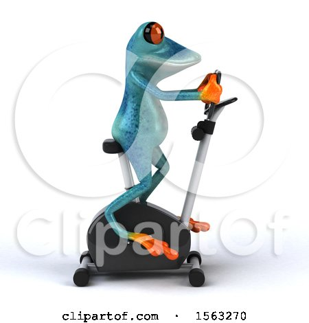 Clipart of a 3d Blue Frog on a Spin Bike, on a White Background - Royalty Free Illustration by Julos