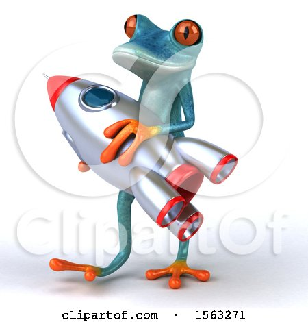 Clipart of a 3d Blue Frog Holding a Rocket, on a White Background - Royalty Free Illustration by Julos