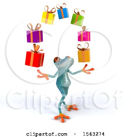 Clipart of a 3d Blue Frog Juggling Gifts, on a White Background - Royalty Free Illustration by Julos