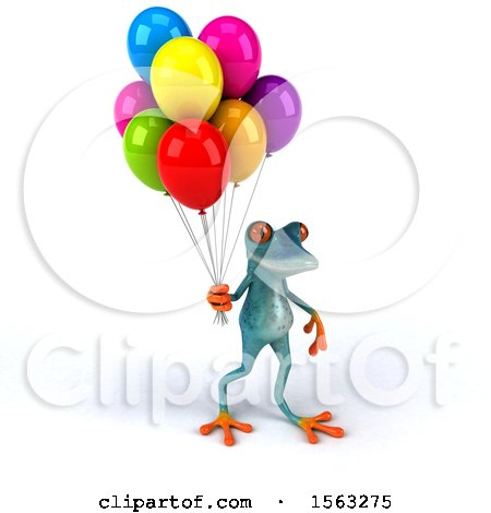 Clipart of a 3d Blue Frog Holding Balloons, on a White Background - Royalty Free Illustration by Julos
