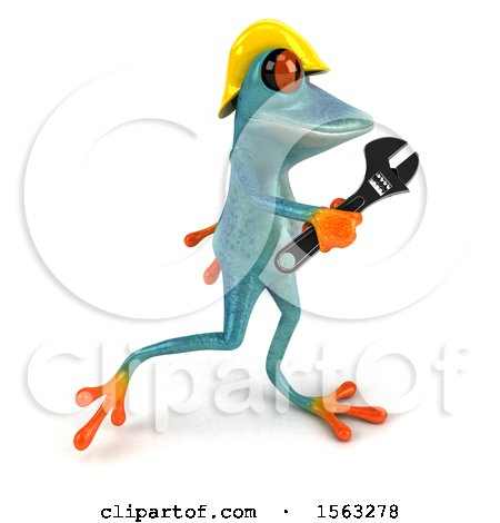 Clipart of a 3d Blue Frog Worker Carrying a Wrench, on a White Background - Royalty Free Illustration by Julos