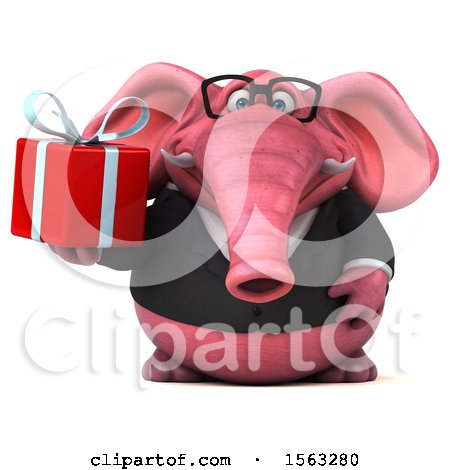 Clipart of a 3d Pink Business Elephant Holding a Gift, on a White Background - Royalty Free Illustration by Julos