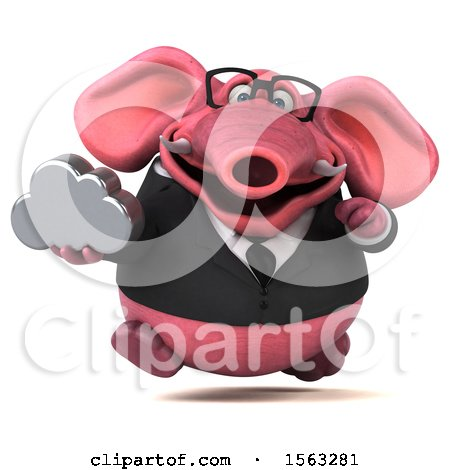 Clipart of a 3d Pink Business Elephant Holding a Cloud, on a White Background - Royalty Free Illustration by Julos