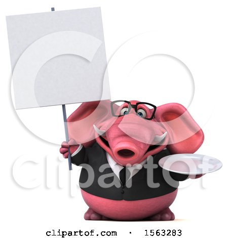 Clipart of a 3d Pink Business Elephant Holding a Plate, on a White Background - Royalty Free Illustration by Julos