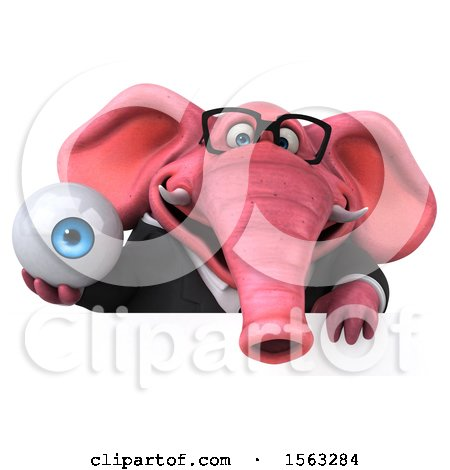Clipart of a 3d Pink Business Elephant Holding an Eye, on a White Background - Royalty Free Illustration by Julos