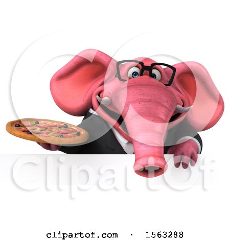 Clipart of a 3d Pink Business Elephant Holding a Pizza, on a White Background - Royalty Free Illustration by Julos